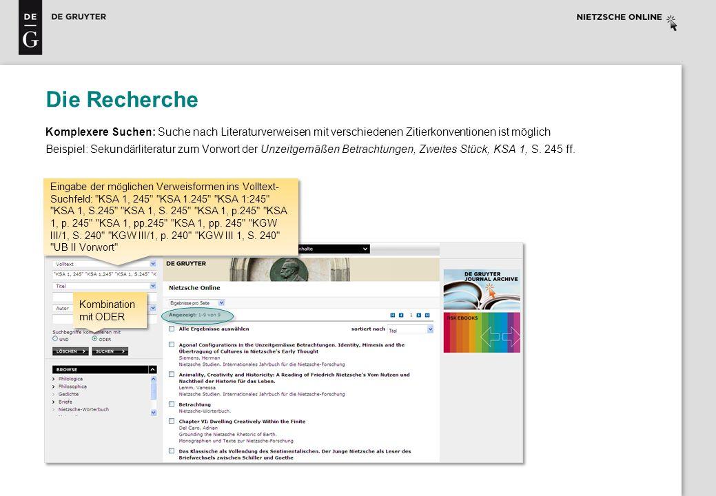 Die Recherche Komplexere Suchen: Suche nach Literaturverweisen mit verschiedenen Zitierkonventionen ist möglich.