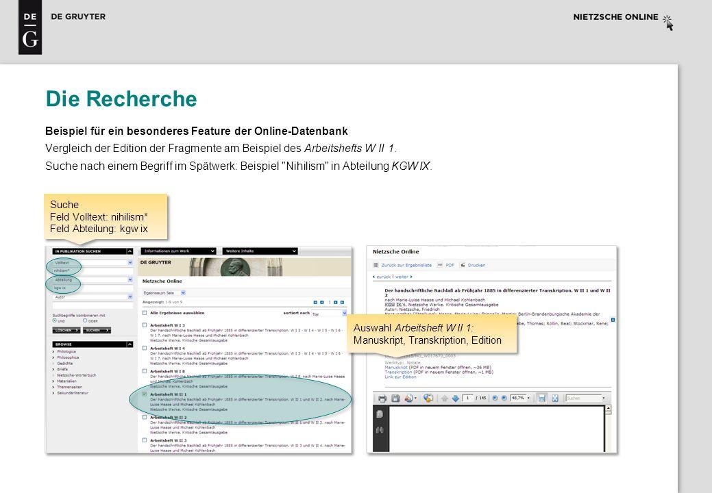 Die Recherche Beispiel für ein besonderes Feature der Online-Datenbank