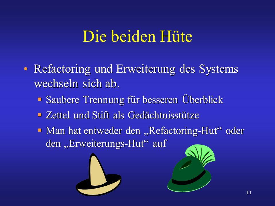 Die beiden Hüte Refactoring und Erweiterung des Systems wechseln sich ab. Saubere Trennung für besseren Überblick.