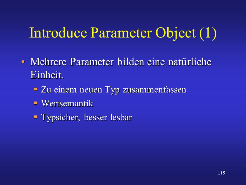 Introduce Parameter Object (1)