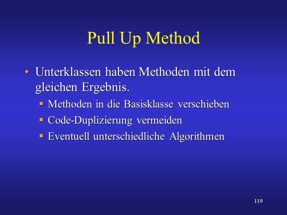 Pull Up Method Unterklassen haben Methoden mit dem gleichen Ergebnis.