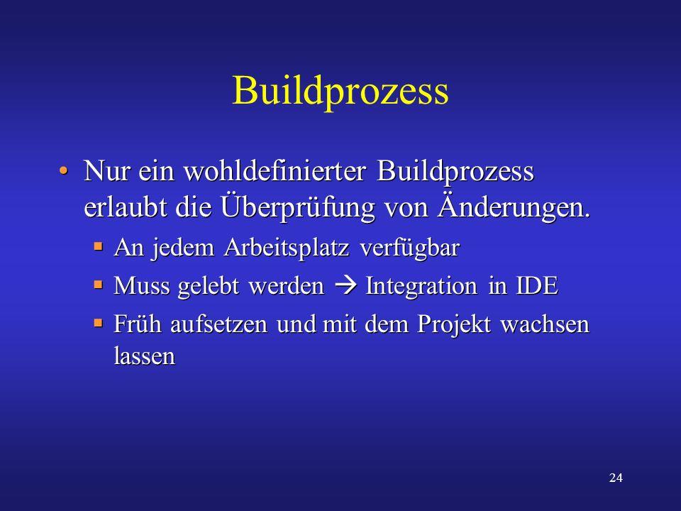 Buildprozess Nur ein wohldefinierter Buildprozess erlaubt die Überprüfung von Änderungen. An jedem Arbeitsplatz verfügbar.