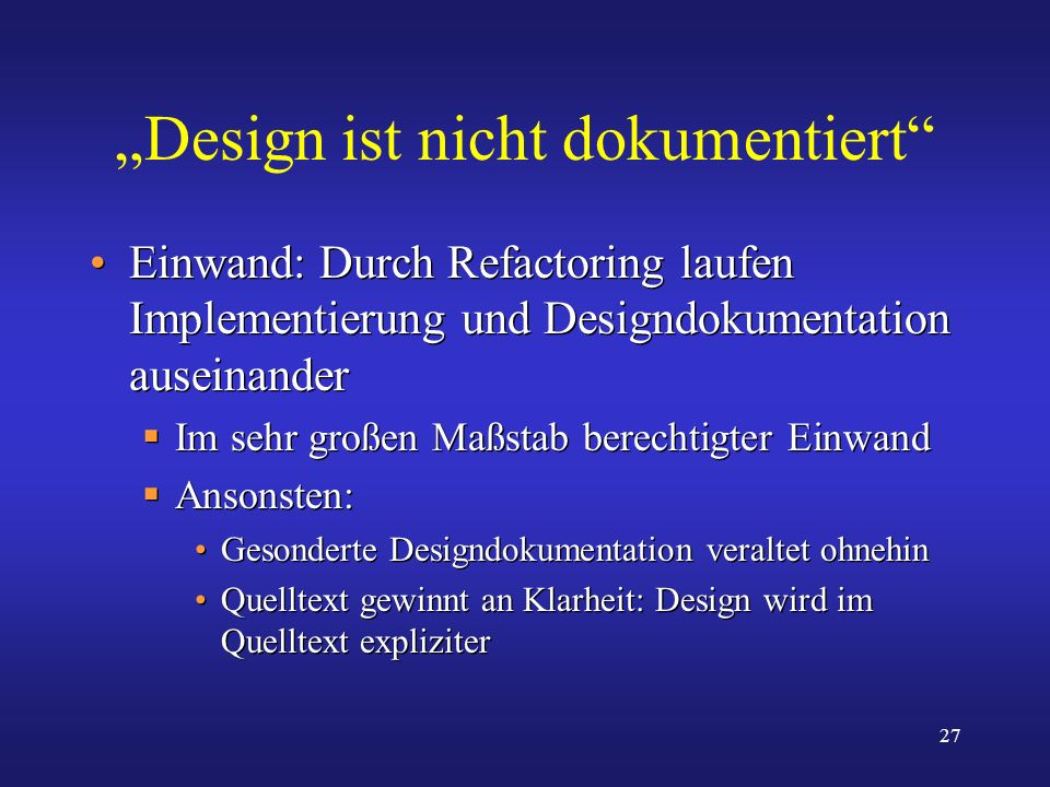 """""""Design ist nicht dokumentiert"""