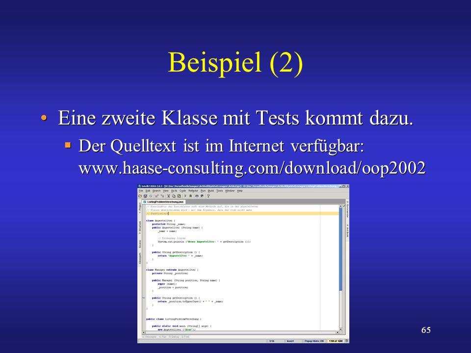Beispiel (2) Eine zweite Klasse mit Tests kommt dazu.