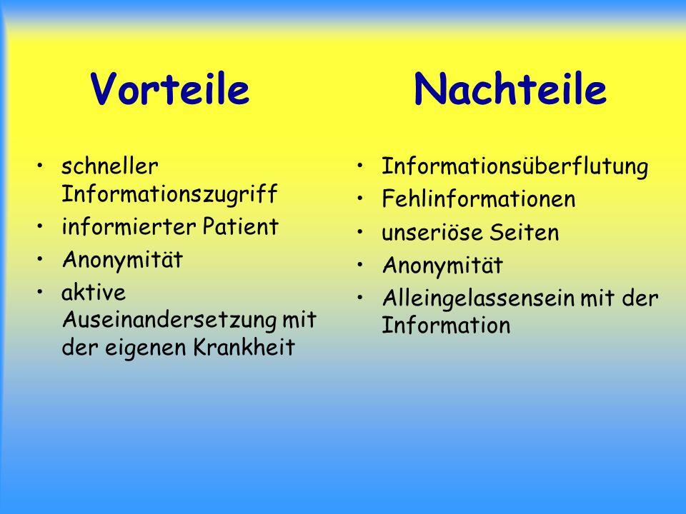 Vorteile Nachteile schneller Informationszugriff informierter Patient
