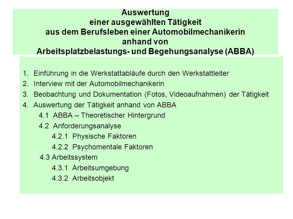 Auswertung einer ausgewählten Tätigkeit aus dem Berufsleben einer Automobilmechanikerin anhand von Arbeitsplatzbelastungs- und Begehungsanalyse (ABBA)