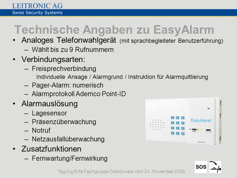Technische Angaben zu EasyAlarm
