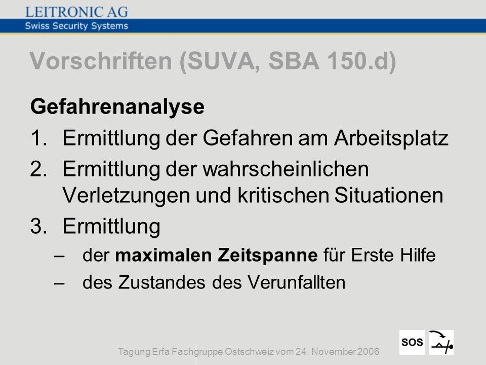 Vorschriften (SUVA, SBA 150.d)