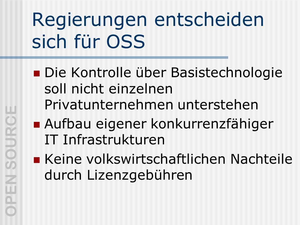 Regierungen entscheiden sich für OSS