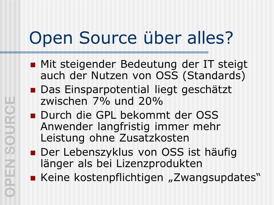 Open Source über alles Mit steigender Bedeutung der IT steigt auch der Nutzen von OSS (Standards)
