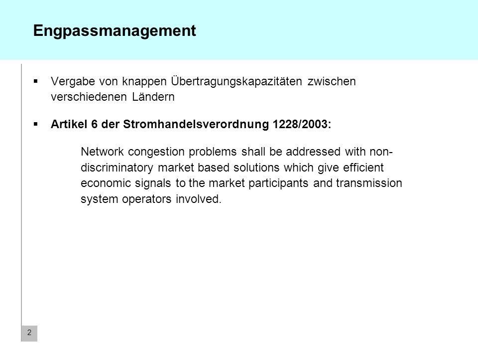 Engpassmanagement Vergabe von knappen Übertragungskapazitäten zwischen verschiedenen Ländern. Artikel 6 der Stromhandelsverordnung 1228/2003: