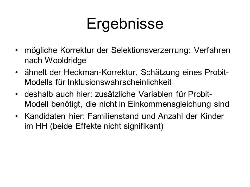Ergebnisse mögliche Korrektur der Selektionsverzerrung: Verfahren nach Wooldridge.