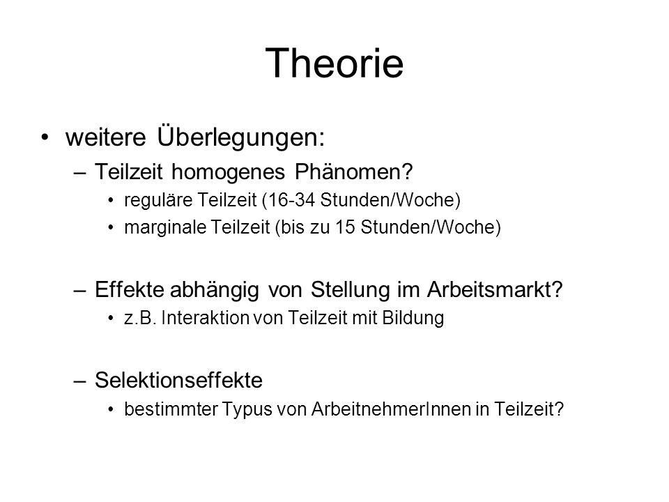 Theorie weitere Überlegungen: Teilzeit homogenes Phänomen