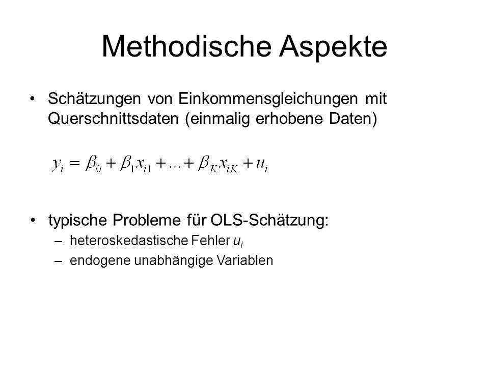 Methodische Aspekte Schätzungen von Einkommensgleichungen mit Querschnittsdaten (einmalig erhobene Daten)
