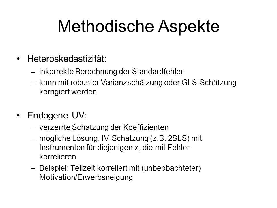 Methodische Aspekte Heteroskedastizität: Endogene UV: