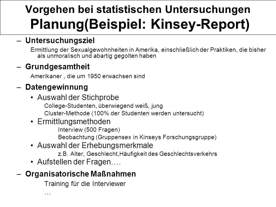 Vorgehen bei statistischen Untersuchungen Planung(Beispiel: Kinsey-Report)