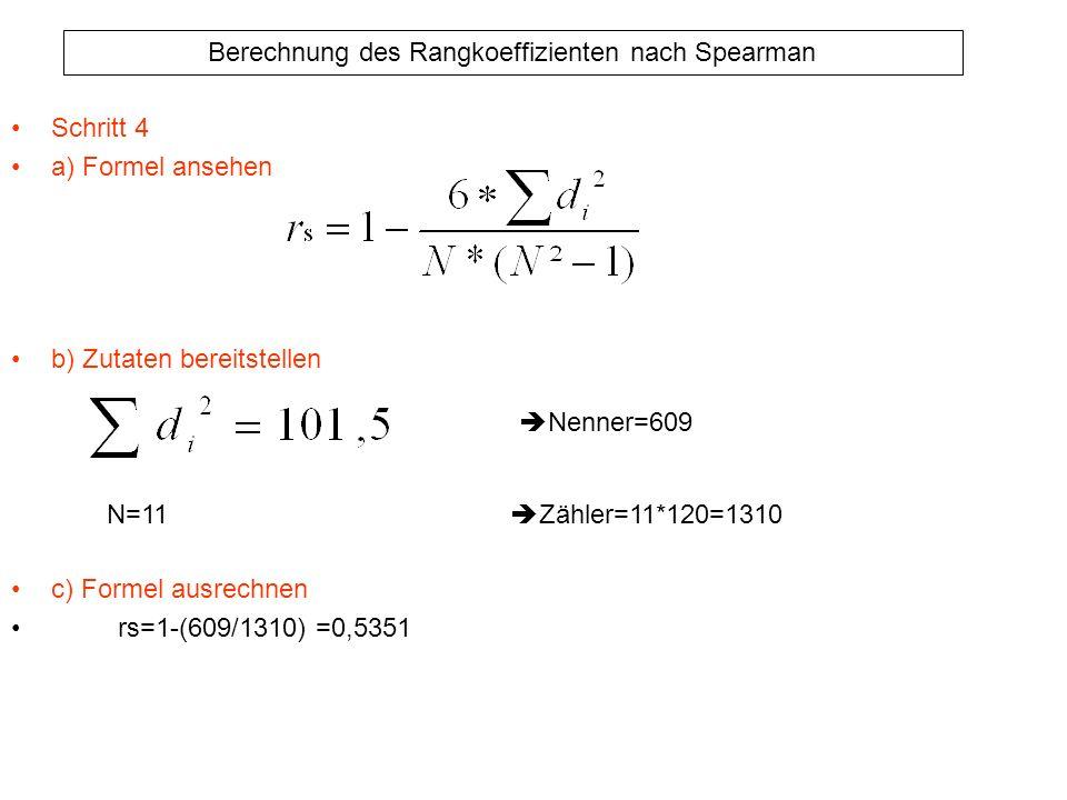 Schritt 4 a) Formel ansehen. b) Zutaten bereitstellen. c) Formel ausrechnen. rs=1-(609/1310) =0,5351.