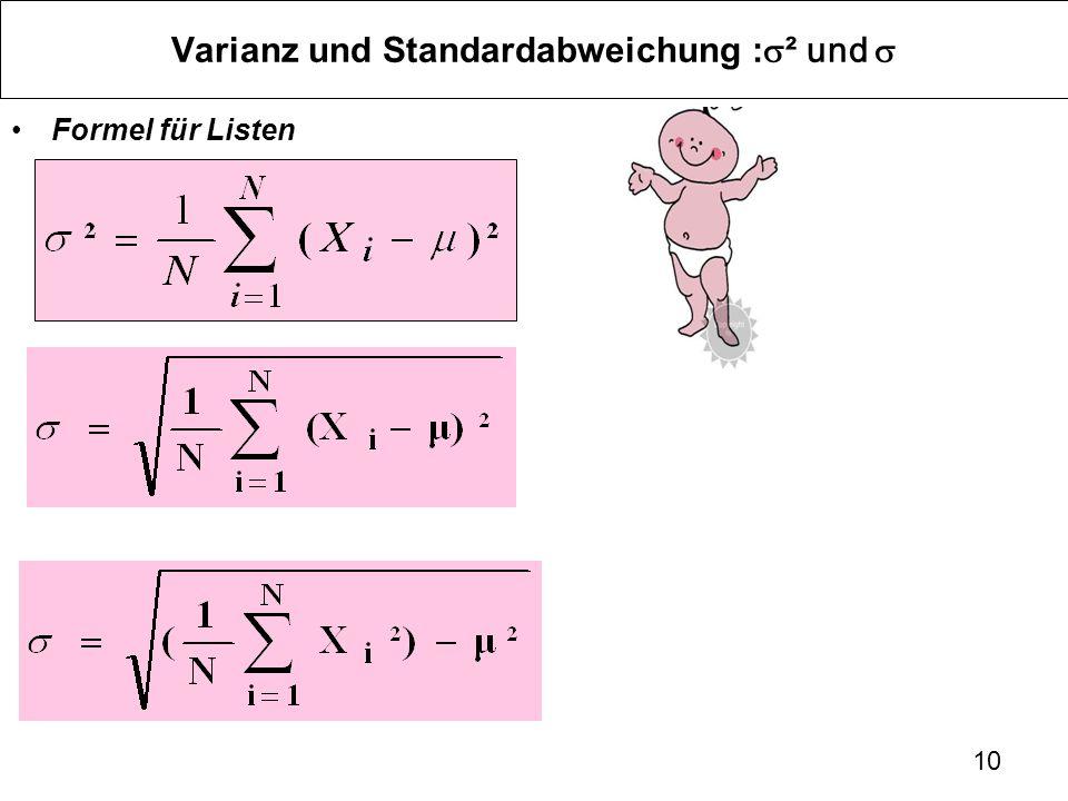 Varianz und Standardabweichung :s² und s