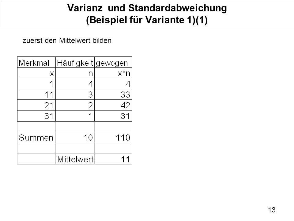 Varianz und Standardabweichung (Beispiel für Variante 1)(1)