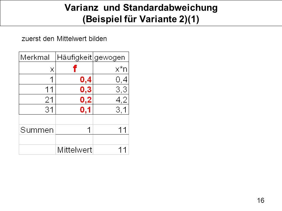 Varianz und Standardabweichung (Beispiel für Variante 2)(1)