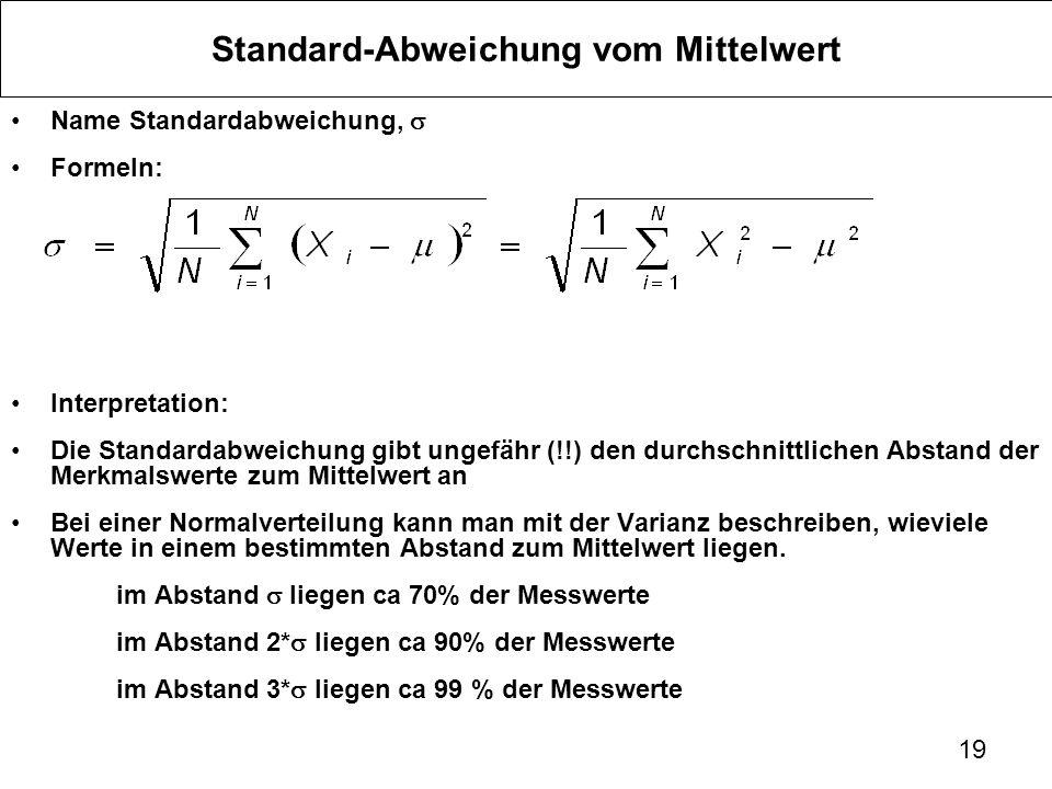Standard-Abweichung vom Mittelwert