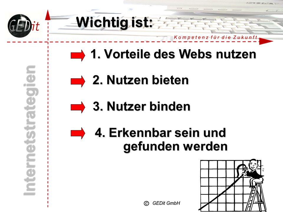 Internetstrategien Wichtig ist: 1. Vorteile des Webs nutzen