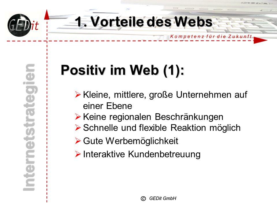 Internetstrategien 1. Vorteile des Webs Positiv im Web (1):