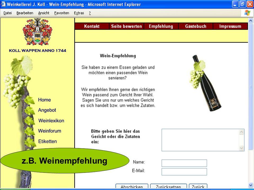 z.B. Weinempfehlung