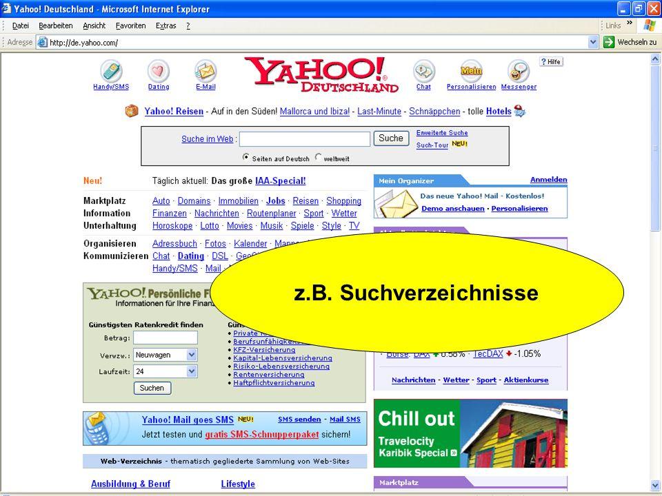 z.B. Suchverzeichnisse