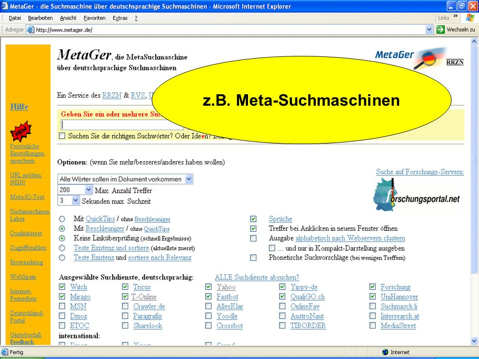 z.B. Meta-Suchmaschinen