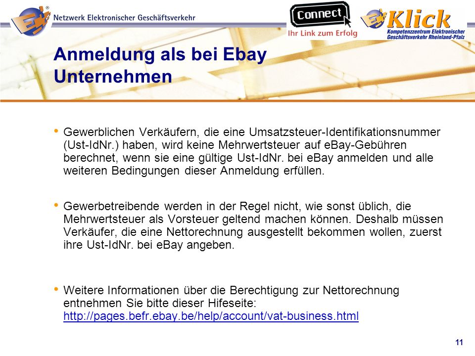Anmeldung als bei Ebay Unternehmen
