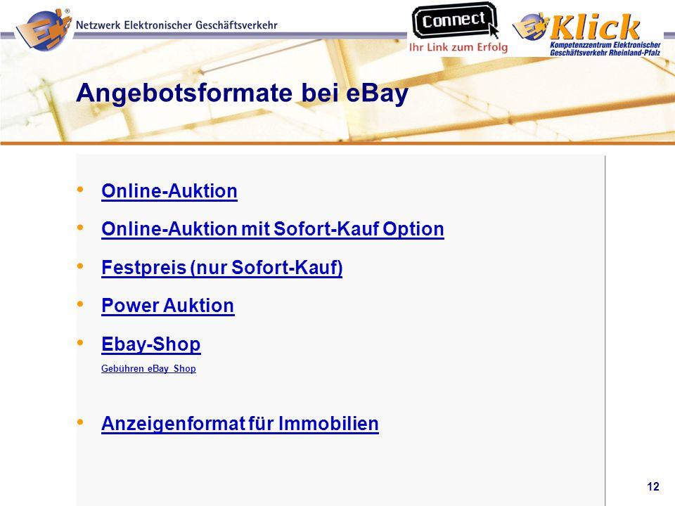Angebotsformate bei eBay