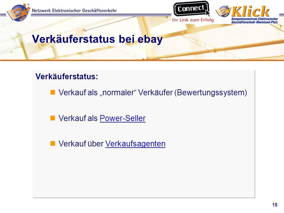 Verkäuferstatus bei ebay
