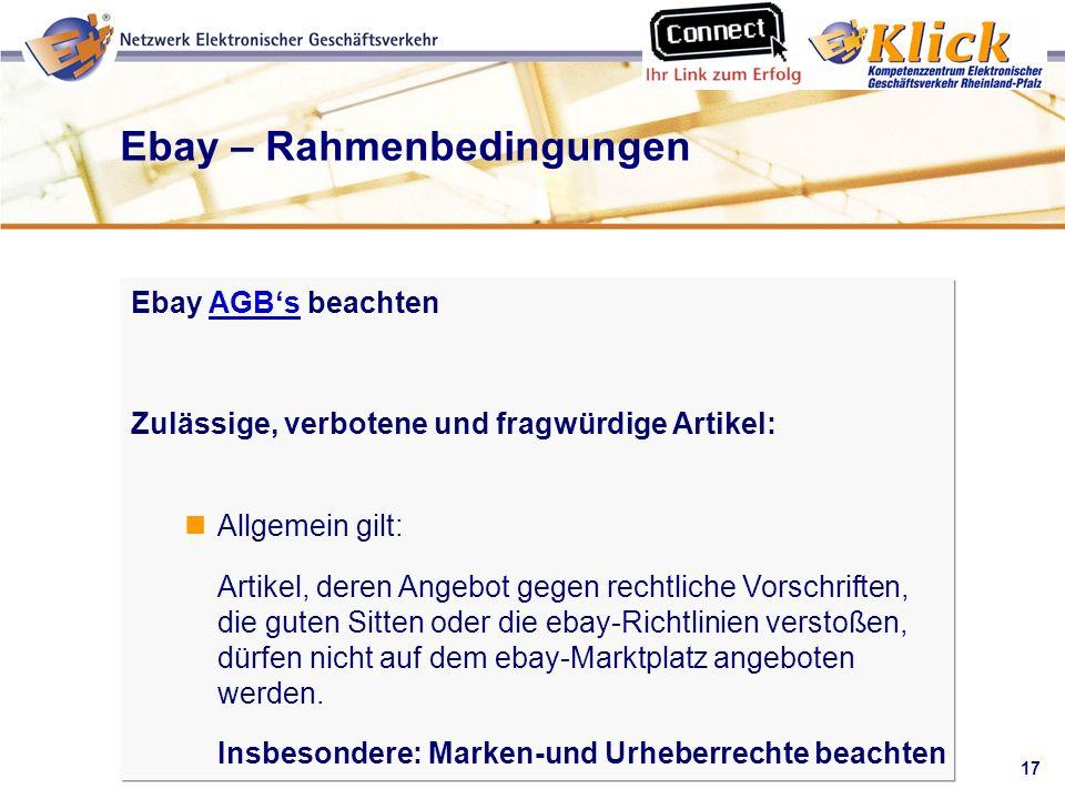 Ebay – Rahmenbedingungen