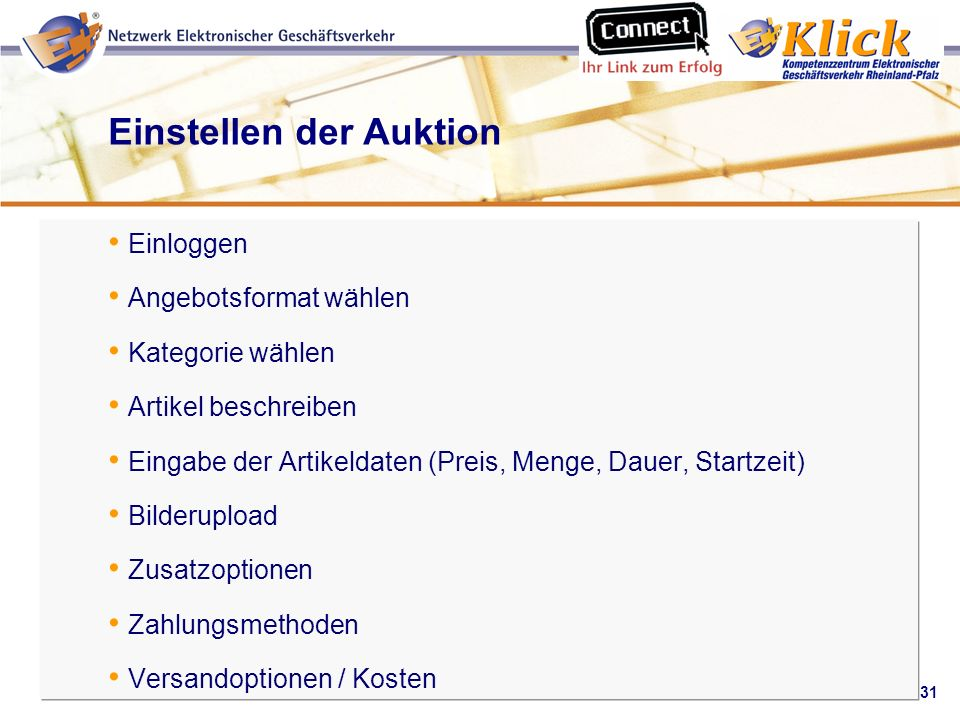 Einstellen der Auktion
