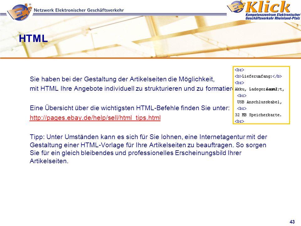 HTML Sie haben bei der Gestaltung der Artikelseiten die Möglichkeit,