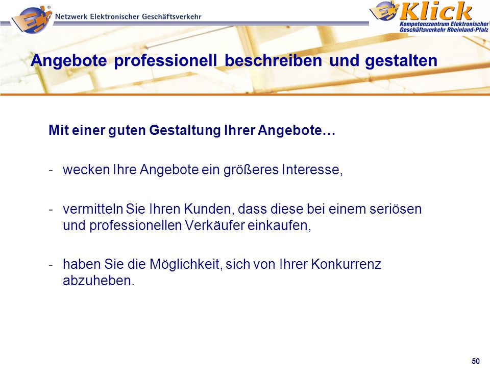 Angebote professionell beschreiben und gestalten