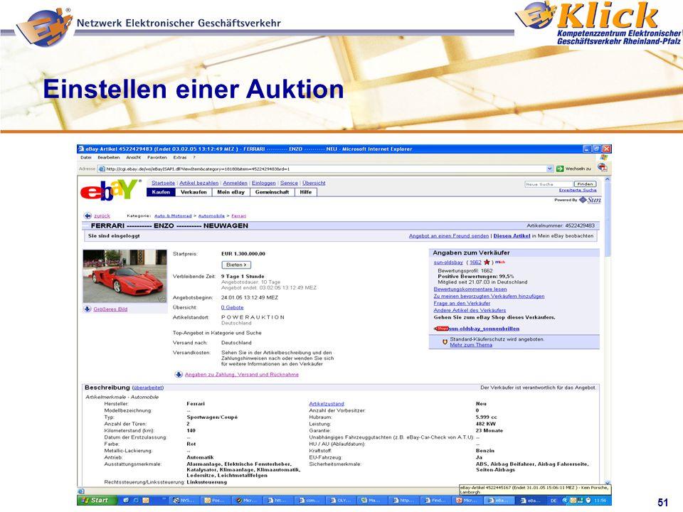 Einstellen einer Auktion