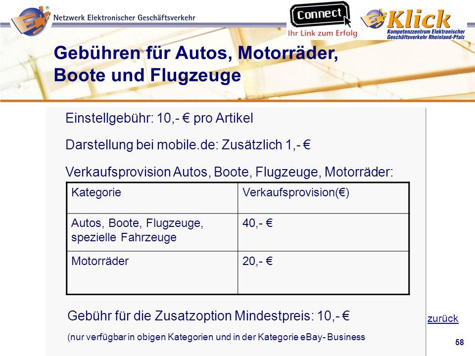Gebühren für Autos, Motorräder, Boote und Flugzeuge