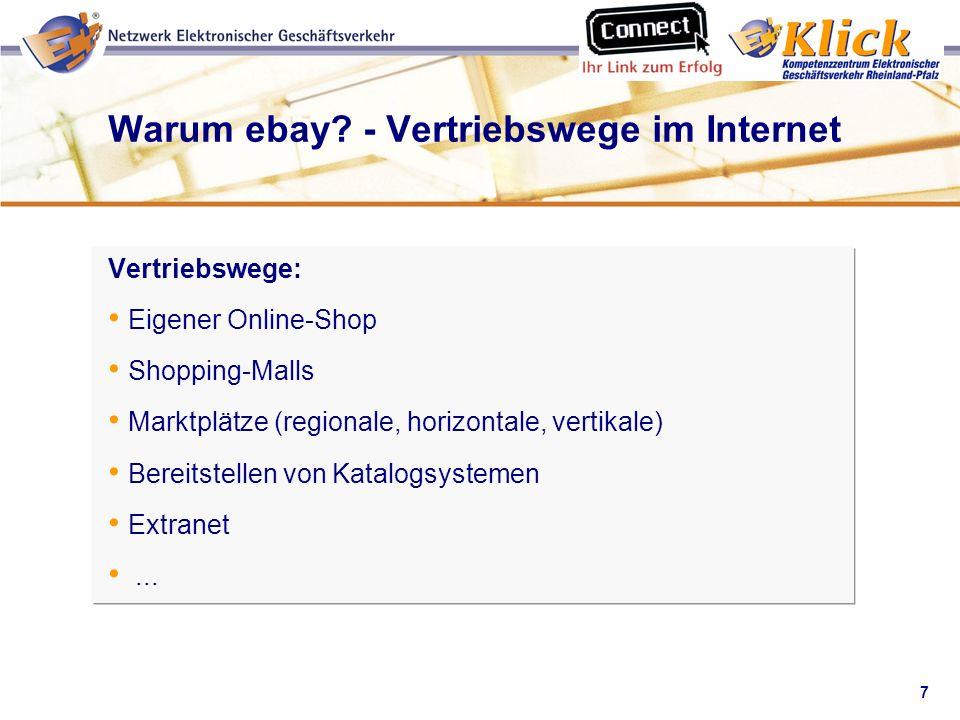 Warum ebay - Vertriebswege im Internet