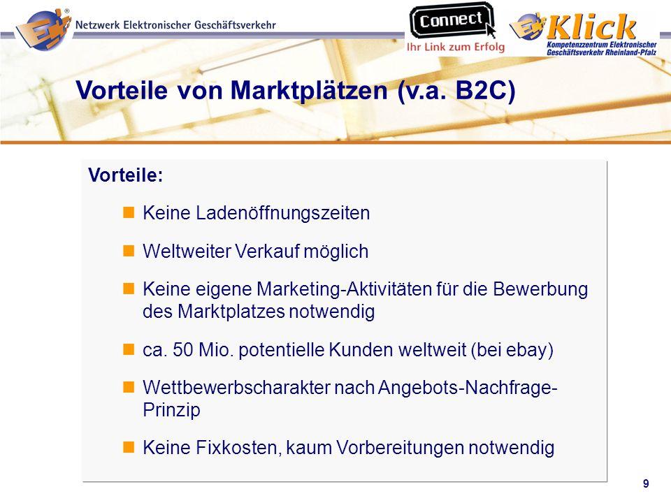 Vorteile von Marktplätzen (v.a. B2C)
