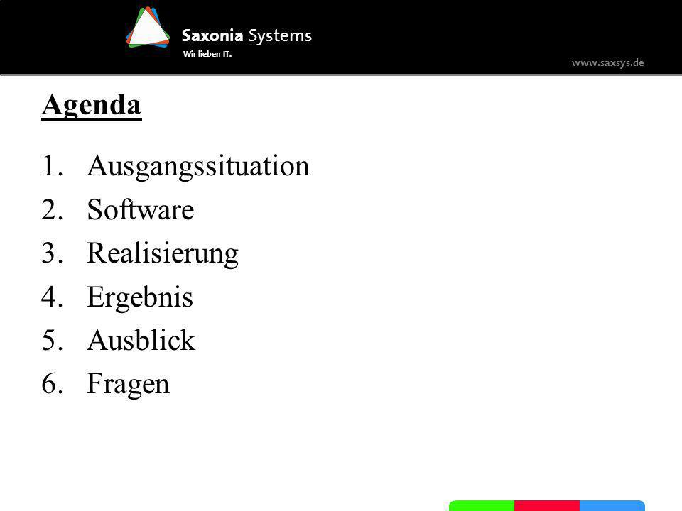 Agenda Ausgangssituation Software Realisierung Ergebnis Ausblick