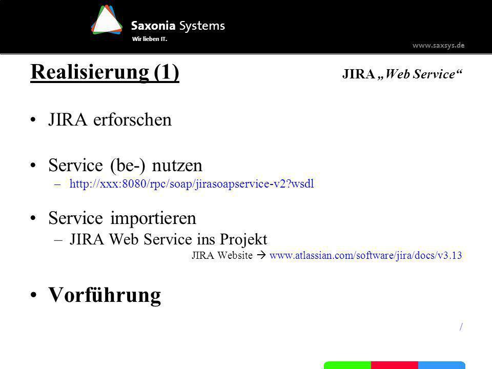 """Realisierung (1) JIRA """"Web Service"""