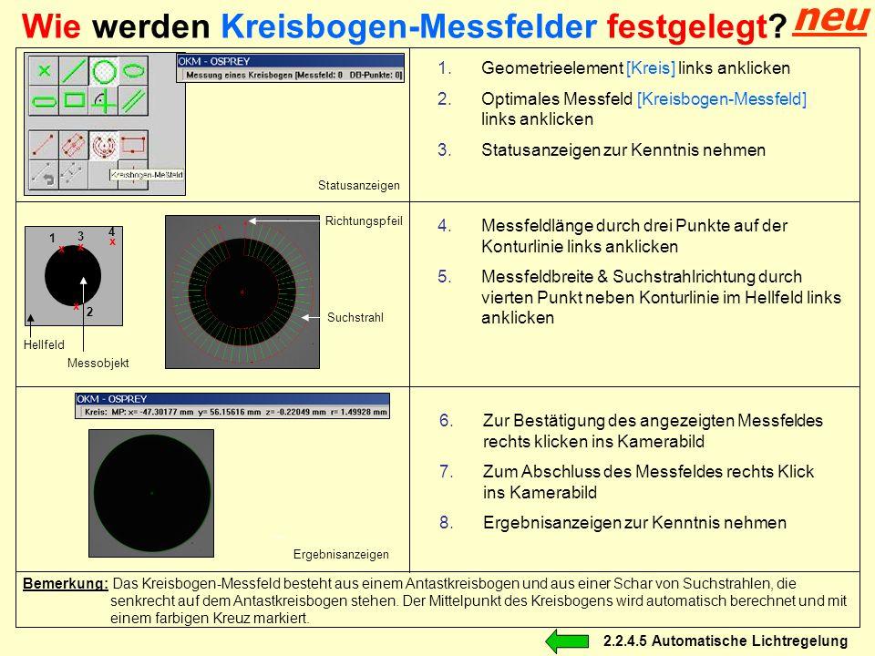 Wie werden Kreisbogen-Messfelder festgelegt