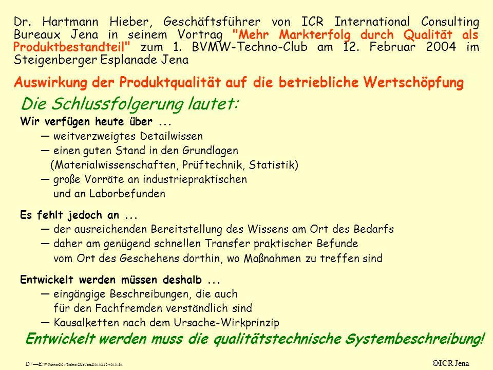 Dr. Hartmann Hieber, Geschäftsführer von ICR International Consulting Bureaux Jena in seinem Vortrag Mehr Markterfolg durch Qualität als Produktbestandteil zum 1. BVMW-Techno-Club am 12. Februar 2004 im Steigenberger Esplanade Jena