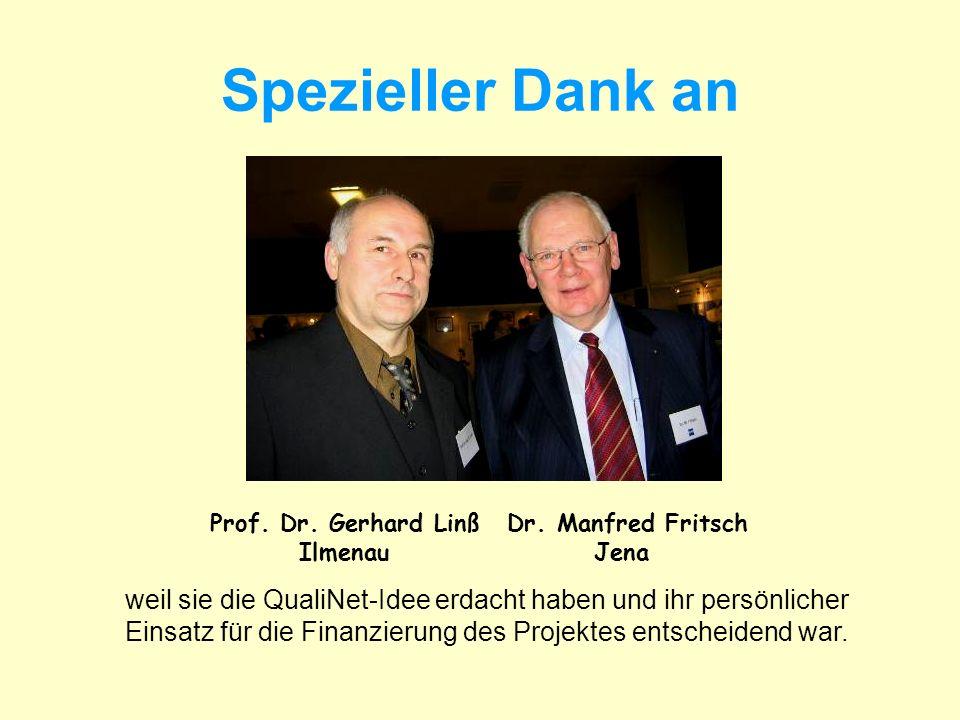 Spezieller Dank an Prof. Dr. Gerhard Linß. Ilmenau. Dr. Manfred Fritsch. Jena. weil sie die QualiNet-Idee erdacht haben und ihr persönlicher.