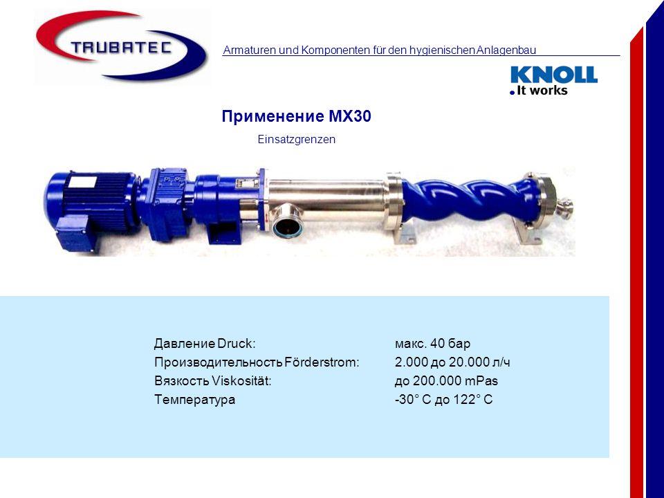 Применение MX30 Давление Druck: макс. 40 бар