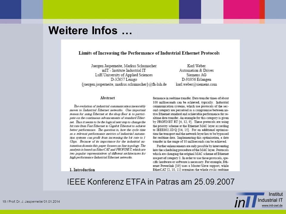 Weitere Infos … IEEE Konferenz ETFA in Patras am 25.09.2007