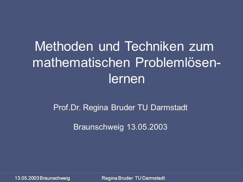 Methoden und Techniken zum mathematischen Problemlösen- lernen
