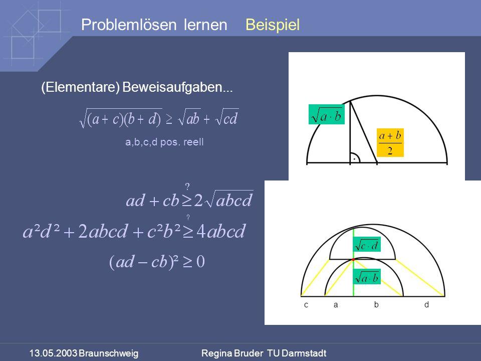 Beispiel (Elementare) Beweisaufgaben... a,b,c,d pos.